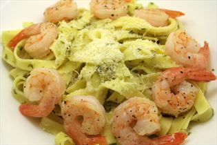 Pasta with tiger prawns