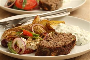 Greek meatloaf with tzatziki