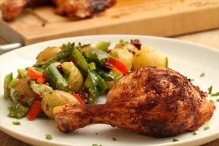 Grilled chicken with potato salad