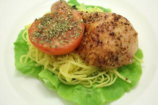 Barbecue chicken with pasta and salad