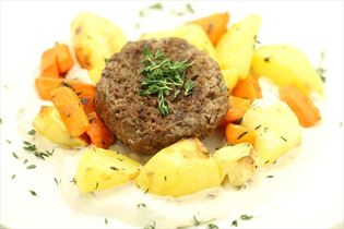 Beef burger with roasted root vegetables