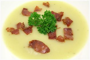 Potato soup with parma ham