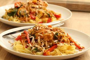 Pesto chicken with fresh pasta
