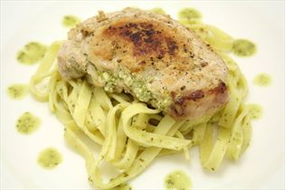 Stuffed chops with pasta