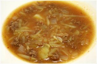 Beef soup with grated potatoes