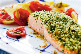 Baked trout in herby breadcrumbs