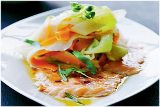 Sugar-glazed salmon with warm root vegetable salad