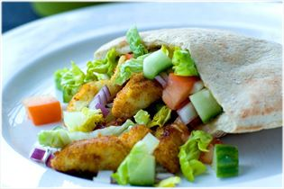 Pita bread with crispy spiced plaice