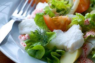 Cod salad with lumpfish roe