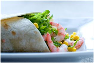 Tortilla wraps with prawn filling