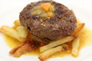 Beef patties with sauce and hand-cut fries
