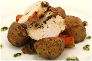 Turkey breast with pesto and root vegetables