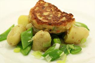 Thai fish cakes with potato salad