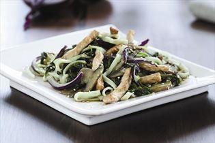 Stir-fry pork strips with baby spinach