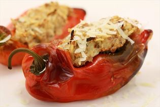 Stuffed snack peppers with sage and rosemary