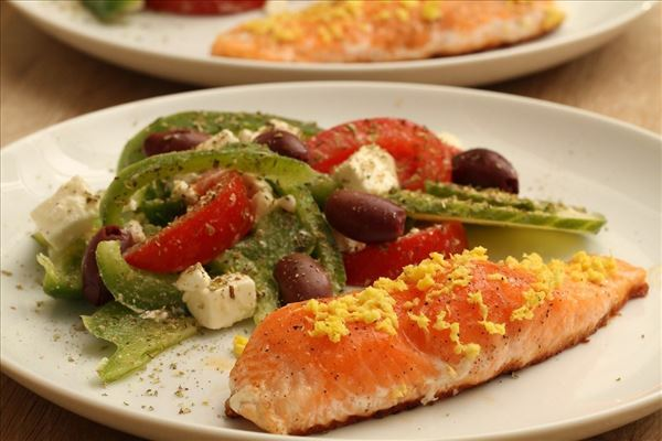 Salmon with Greek salad
