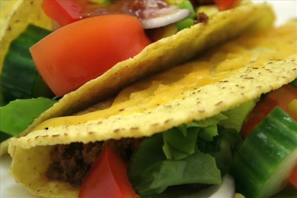 Taco with beef and salad