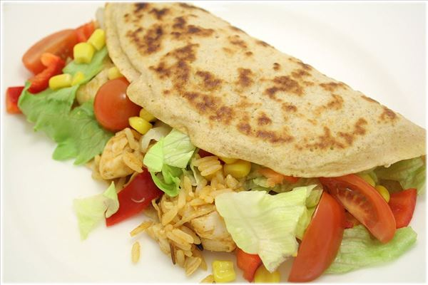Pancakes with chicken and rice